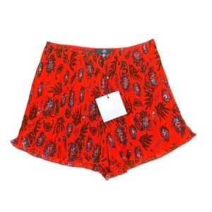 NWT Misguided Paisley Pleated Red Runner Shorts